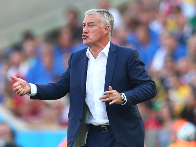 Didier Deschamps of France reacts during the 2014 FIFA World Cup Brazil Quarter Final match between France and Germany at Maracana on July 4, 2014