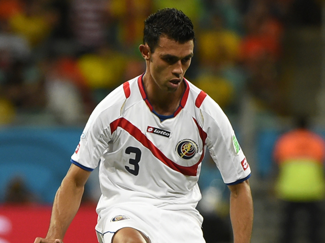 Costa Rica's defender Giancarlo Gonzalez controls the ball during a quarter-final football match between Netherlands and Costa Rica at the Fonte Nova Arena in Salvador during the 2014 FIFA World Cup on July 5, 2014
