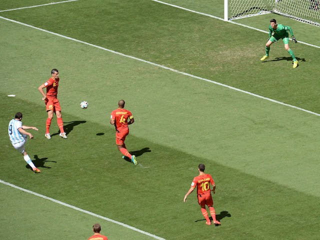 Argentina striker Gonzalo Higuain scores the opening goal of the 2014 World Cup quarter-final against Belgium in Brasilia on July 5, 2014