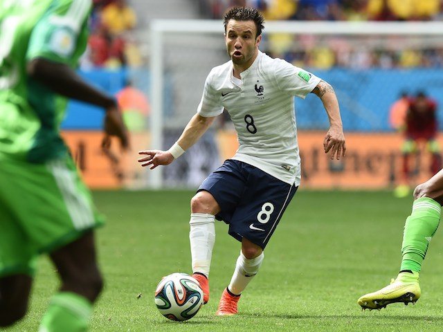France winger Mathieu Valbuena runs with the ball during the World Cup last-16 tie against Nigeria in Brasilia on June 30, 2014