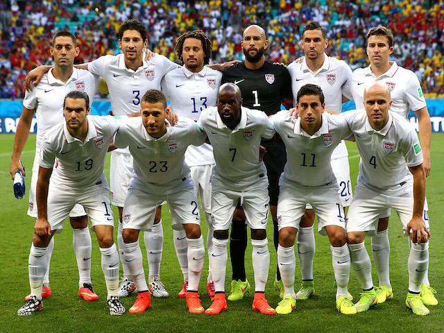 United States players pose for a team photo prior to the 2014 FIFA World Cup Brazil Round of 16 match with Belgium on July 1, 2014