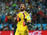 Sergio Romero of Argentina reacts after saving the penalty kick of Ron Vlaar of the Netherlands (not pictured) in a shootout during the 2014 FIFA World Cup Brazil Semi Final match between the Netherlands and Argentina at Arena de Sao Paulo on July 9, 2014