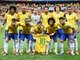 Brazil's players lineup before their semi final against Germany on July 8, 2014