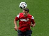 Javi Manquillo training for Atletico Madrid ahead of the Champions League final on May 19, 2014.