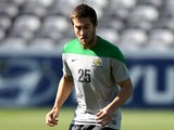 Josh Brillante in action during an Australian Socceroos training session at Central Coast Stadium on May 21, 2014