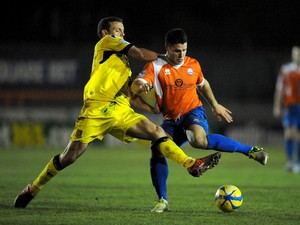 Dan Holman of Braintree battles with James Wallace of Tranmere during the FA Cup First Round match between Braintree Town and Tranmere Rovers on Novemeber 13, 2012