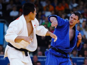 Takamasa Anai of Japan and James Austin of Great Britain compete in the Men's -100 kg Judo on Day 6 of the London 2012 Olympic Games at ExCeL on August 2, 2012
