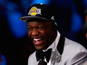 Julius Randle of Kentucky is interviewed after being selected with the #7 overall pick by the Los Angeles Lakers during the 2014 NBA Draft at Barclays Center on June 26, 2014