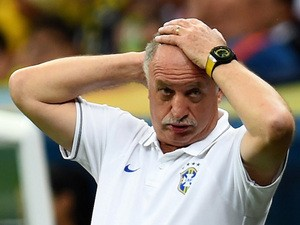 Head coach Luiz Felipe Scolari of Brazil reacts during the 2014 FIFA World Cup Brazil Third Place Playoff match against Netherlands on July 12, 2014