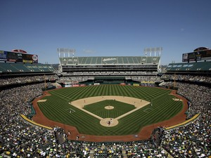 A general view during the Oakland Athletics game against the Houston Astros at O.co Coliseum on April 19, 2014