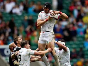 Tom Powell of England takes lineout ball during the Marriott London Sevens match between England and New Zealand at Twickenham Stadium on May 10, 2014 in London, England