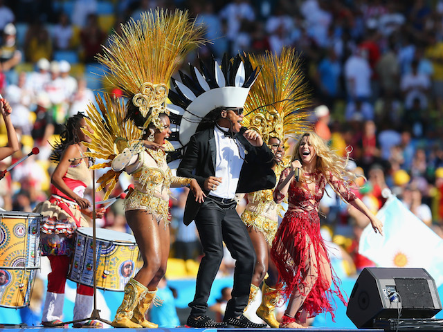 Musician Carlinhos Brown and singer Shakira perform during the closing ceremony prior to the 2014 FIFA World Cup Brazil Final match on July 13, 2014