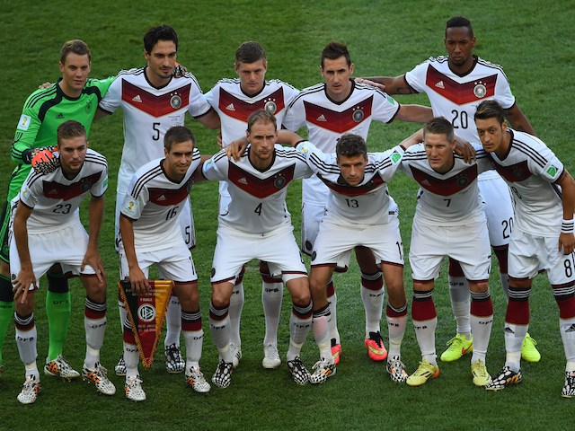 The German team line-up ahead of the World Cup final on July 13, 2014