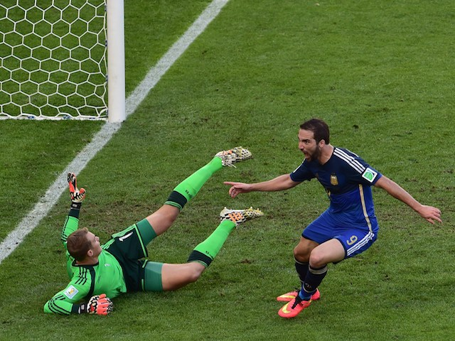 Argentina's forward Gonzalo Higuain (R) shoots and scores past Germany's goalkeeper Manuel Neuer a disallowed goal during the 2014 FIFA World Cup final football match on July 13, 2014