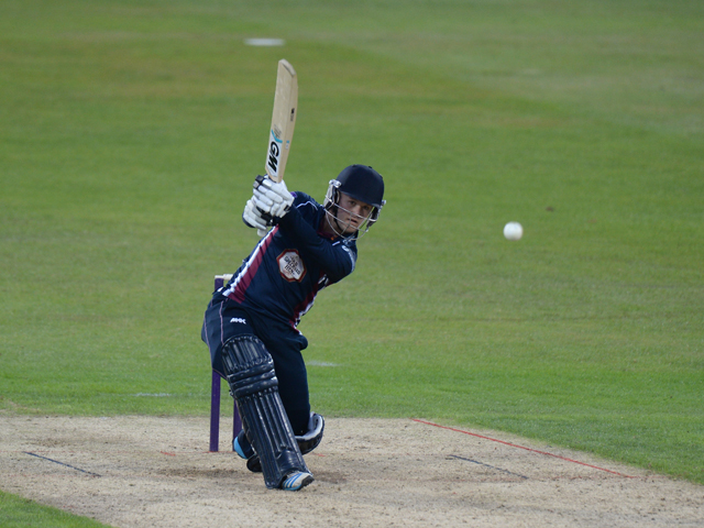 Ben Ducket of Northants Steelbacks bats during the Natwest T20 Blast match between Northants Steelbacks v Derbyshire Falcons at The County Ground on July 11, 2014