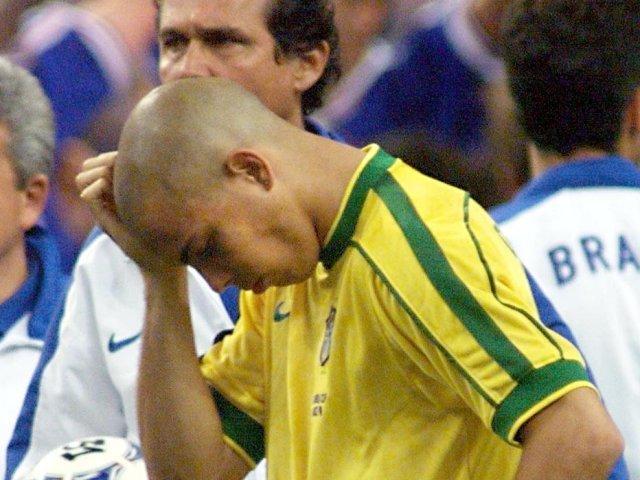 Brazilian striker Ronaldo looks dejected after the World Cup final on July 12, 1998.