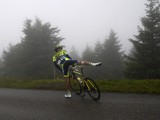 Spain's Alberto Contador abandons after a fall during the 161.50 km tenth stage of the 101st edition of the Tour de France cycling race on July 14, 2014