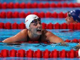 Great Britain's Francesca Halsall after competing during the Swimming Women's 50m Freestyle preliminaries heat seven on day fifteen of the 15th FINA World Championships in Barcelona on August 3, 2013