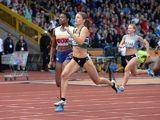 Kelly Massey winning the 400m women's final in Birmingham on June 29, 2014