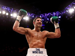 Frank Buglioni celebrates his victory over Broislav Kubin during their Super Middleweight bout at The Copper Box on September 21, 2013