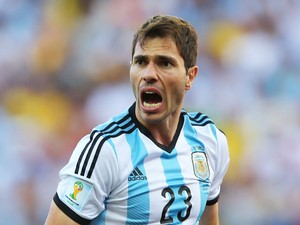 Jose Maria Basanta of Argentina reacts during the 2014 FIFA World Cup Brazil Round of 16 match between Argentina and Switzerland at Arena de Sao Paulo on July 1, 2014