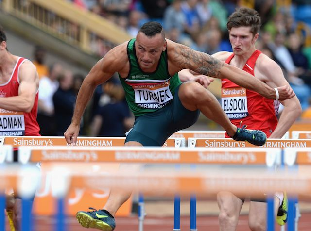 Andy Turner competing in the men's 110m hurdles on June 29, 2014