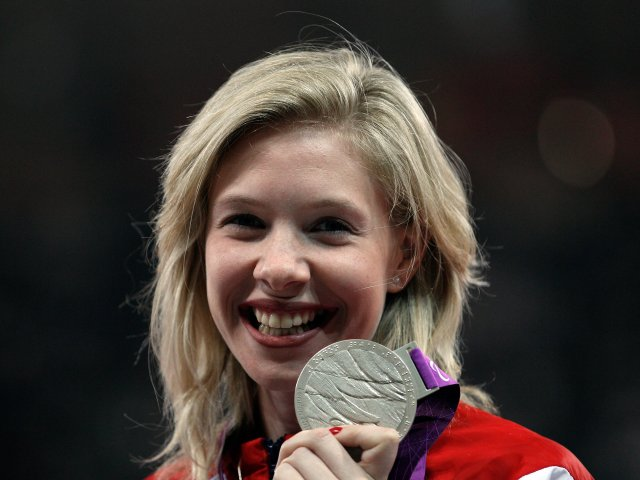 Bethy Woodward poses with the silver medal that she won at the London Payalympics on September 05, 2012.