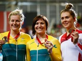Silver medalist Stephanie Morton of Australia, Gold medalist Anna Meares of Australia and bronze medalist Jess Varnish of England celebrate on the podium during the medal ceremony for the Women's 500m Time Trial at Sir Chris Hoy Velodrome during day one o