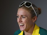 Sally Pearson speaks to the media during an Australian press conference at the SECC on July 23, 2014