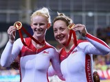 Sophie Thornhill and Helen Scott of England celebrate after winning Gold in the Women's 1000m Time Trial B2 Tandem at Sir Chris Hoy Velodrome during day four of the Glasgow 2014 Commonwealth Games on July 27, 2014