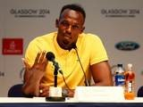 Jamaica's Usain Bolt talks to the media in Glasgow on July 26, 2014