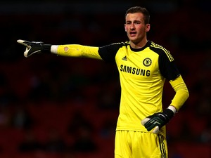 Mitchell Beeney of Chelsea signals during the FA Youth Cup Semi Final second leg match between Arsenal and Chelsea at Emirates Stadium on April 17, 2014