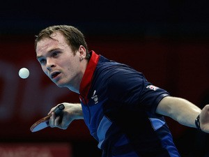 Paul Drinkhall of Great Britain competes during Men's Team Table Tennis first round match against team of Portugal on Day 7 of the London 2012 Olympic Games on August 3, 2012