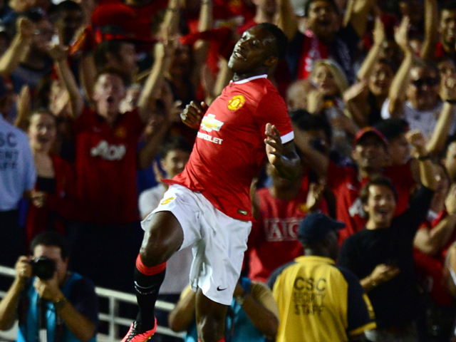 Manchester United's Danny Welbeck celebrates his opening goal against the LA Galaxy during their Chevrolet Cup match at the Rose Bowl in Pasadena, California on July 23, 2014