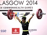 Nigeria's gold medalist Chika Amalaha competing in the women's weightlifting 53kg class, at the SECC Precinct during the 2014 Commonwealth Games in Glasgow, Scotland, July 25, 2014