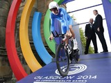 Scotland's David Millar starts the Men's Cycling Individual Time Trial during the 2014 Commonwealth Games in Glasgow, Scotland on July 31, 2014