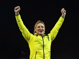 Gold medallist Kim Mickle of Australia on the podium during the medal ceremony for the Women's Javelin Throw at Hampden Park during day seven of the Glasgow 2014 Commonwealth Games on July 30, 2014