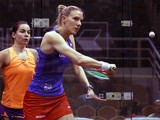 Laura Massaro of England plays a return shot to Jenny Duncalf of England during the Round of 16th of the CIMB Women's World Championship at the Spice Arena on March 20, 2014