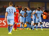 Stevan Jovetic #35 of Manchester City celebrates scoring a goal in the 67th minute against Liverpool during the International Champions Cup 2014 at Yankee Stadium on July 30, 2014
