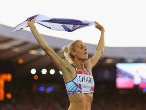 Lynsey Sharp of Scotland celebrates as she wins silver in the Women's 800 metres final at Hampden Park during day nine of the Glasgow 2014 Commonwealth Games on August 1, 2014