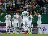 An assortment of Ferencvaros players celebrate scoring against Chelsea on August 10, 2014