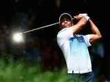 Tiger Woods of the United States hits a tee shot during a practice round prior to the start of the 96th US PGA Championship at Valhalla Golf Club on August 6, 2014