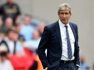 Man City boss Manuel Pellegrini during the Community Shield on August 10, 2014