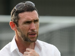 Martin Keown looks on prior to the pre-season match between Corby Town and Stevenage at Steel Park on August 2, 2011 in Corby, England
