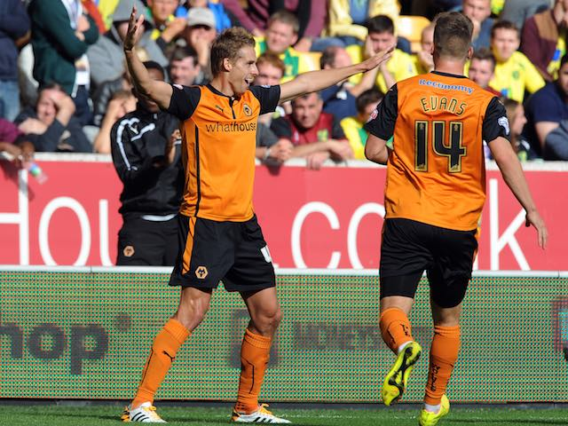 David Edwards celebrates scoring Wolves's winning goal over Norwich on August 10, 2014