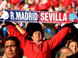 A fan shows his support prior to kickoff during the UEFA Super Cup between Real Madrid and Sevilla FC at Cardiff City Stadium on August 12, 2014
