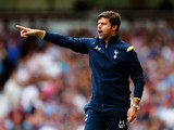 Mauricio Pochettino the Spurs manager directs his pl