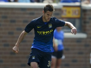 Bruno Zuculini #36 of Manchester City controls the ball against the Olympiacos during the International Champions Cup match on August 2, 2014