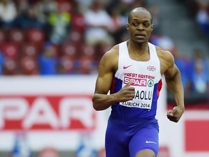 James Dasaolu during the men's 100m heats in Zurich on August 12, 2014