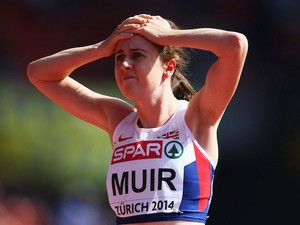 Laura Muir of Great Britain and Northern Ireland reacts after the Women's 1500 metres heats during day one of the 22nd European Athletics Championships on August 12, 2014